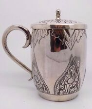 166g! Antique Solid Sterling Silver 925 Decorated Heavy Cup with Lid - Stamped
