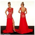 Long Red Lace Wedding dress Bridal Ball gown Prom Party Evening Formal Size:6-16