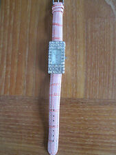 MARCEL DRUCKER(QVC) LADIES SPARKLY DIAMANTE WATCH WITH PEACH LEATHER STRAP