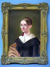 """Porzellan Bild Platte Gemälde Portrait """"Heidrich Anna Maria"""" um ca. 1860"""