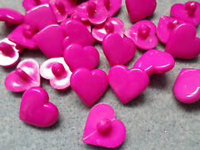 20 x Shanked Acrylic Buttons - Heart - 17mm - Bright Pink
