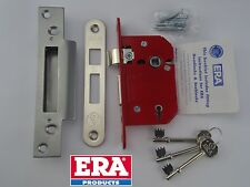 "ERA FORTRESS 67mm (2.5"") 5 LEVER SASH LOCK BS BRITISH STANDARD SATIN CHROME"