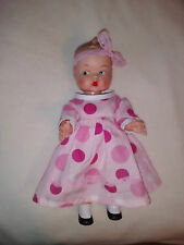 "Doll 10"" Rubber Cupie type baby doll No Markings Glancing eyes painted on shoes"