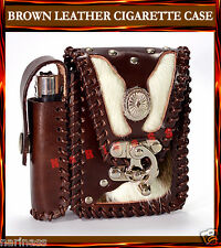 BIKER BROWN LEATHER CIGARETTE CASE & Holder for Belt Tobacciana case (#242)