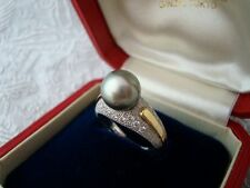 "Authentic   ""MIKIMOTO"" Vintage 18k &14k gold Akoya Pearl & Diamond Ring"
