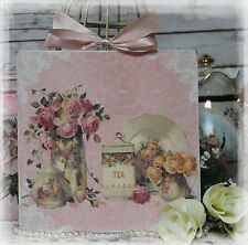 "NEW! ""TEA TIME"" Vintage Shabby Country Cottage style Wall Decor Sign"