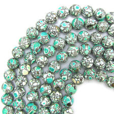 "12mm green mosaic flower turquoise round beads 16"" strand S1"