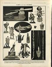 Arts Guerre Poilus Tranchée Douilles d'Obus Canon Encriers Figurines  1917 WWI