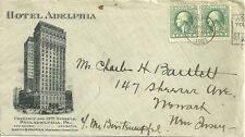 1921 Hotel adelphia cover with letter philadelphia pennsylvania chestnut & 13th