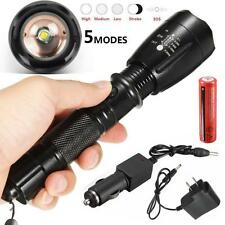 5000LM CREE XML T6 LED Flashlight Torch Lamp Rechargeable 18650 Battery+ Charger