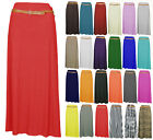 NEW WOMENS LADIES LONG JERSEY BELTED MAXI GYPSY SKIRT DRESS PLUS SIZES 8-28