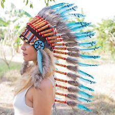 AMAZING CHIEF INDIAN HEADDRESS 90CM FEATHERS Native American Costume WAR BONNET