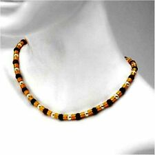 14k Yellow Gold over Base Created Pearl Aventurine Bronze Bead Necklace Strand