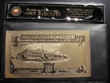 24k Gold Foil Ten Shilling Australian Bank Note. Half Pound! Issued 1954 - 1962!