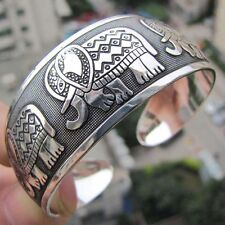 Totem Bangle Sliver Plated Fashion Elephant Tibetan Tibet Cuff Bracelet Gift