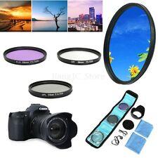 58mm UV FLD CPL Circular Polarizing Filter Kit Set & Lens Hood For Canon Camera