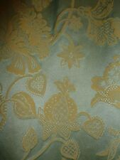 4kg PAIR SATIN BROCADE DAMASK CURTAINS PALE PEA GREEN & CREAM YELLOW HEAVY LINED