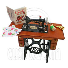 Vintage Sewing Machine + Knitting Tools Book Doll's House Dollhouse Miniature