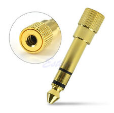 "Gold 6.3mm 1/4"" Male to 3.5mm 1/8"" Female Stereo Plug Audio Adapter Converter"