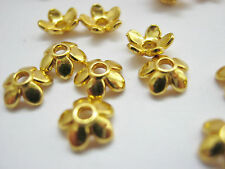 "50 Gold Bead Caps Flower Petal  6mm (1/4"") Bead Ends Jewellery Making Findings"
