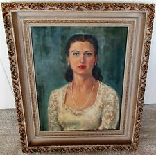 "1940's Orig Oil/Canvas Elegant Beautiful Woman Signed R VALENTINE 22""x 26"" Frame"