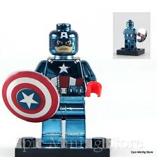 Custom Captain America in Chrome Minifigure Marvel fits Lego pg405 UK Seller