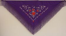 New Spanish Flamenco Shawl, Large - Mauve with Flowers and Mauve Fringe