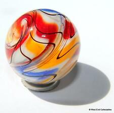 25mm Sheared Swirls Glass Art Toy Marble & Stand - Handmade Collectors Marbles