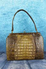 """Vintage 1950s """"Kristine"""" London Hornback Crocodile Bag Handbag Suede Lined"""