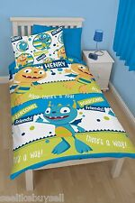 OFFICIAL Henry Hugglemonster Reversible Duvet Cover Set Single Boys Bed Kids