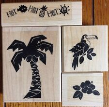 Lot 4 Stampin Up Tropical Heat Wave Rubber Stamps Hawaii Parrot Palm Tree