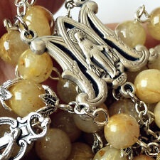 Rare Gold Rutilated Quartz Beads 5 DECADE Rosary CROSS gifts necklace Box