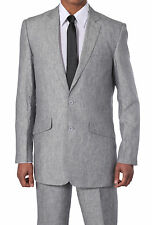 Men's Luxurious Two Button Linen Suit 612L Solid White Blue Gray