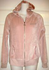 BCBG MAXAZRIA Womens Medium Long Sleeve Pink Velour Bling Zipper Hoodie M