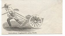 """1860s Civil War Patriotic Cover """" Agricultural Implements going South """" Cannon"""