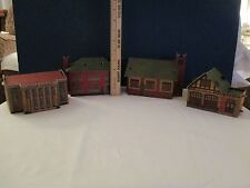 Vintage Built-Rite Cardstock HO Set of 4:CHURCH, FIRE STATION, SCHOOL, UNION STA
