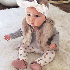3pcs Kid Children Baby Girl Infant Top+Pant Legging+Headband Outfit Set Clothing