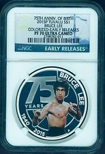 2015 SILVER BRUCE LEE 75TH ANNIVERSARY NGC PF70 Early Release 1oz $1 coin POP:24