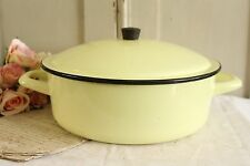 Vintage French Pastel Yellow Enamel Pot