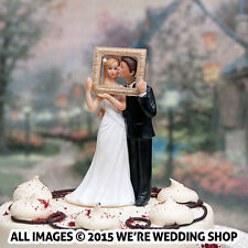 Wedding Cake Topper Couple In Love Bride Groom Kissing Picture Frame Romantic