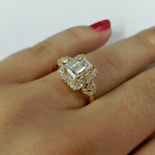 Certified 1.55Ct Diamond Engagement Ring Emerald Cut Diamond in 14k Yellow Gold