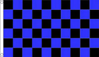 5' x 3' Black and Royal Blue Check Flag Checkered Flags Banner