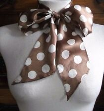 PUSSY BOW TIE VINTAGE 1980s STYLE PUNK LADIES WOMENS SELF TIE BROWN SPOTTY SILKY