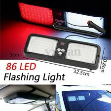86 LED 12V Car Emergency Warning Flash Sun Visor Strobe Light Lamp Red White