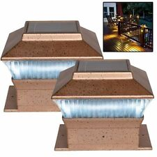 2 NEW BRONZE LED OUTDOOR GARDEN POST SOLAR POWERED DECK CAP SQUARE FENCE LIGHTS