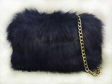 Ladies Fluffy Faux Fur Elegant Peach Clutch Evening Party Prom Stylish handbag