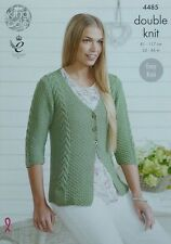 KNITTING PATTERN Ladies Easy Knit 3/4 Sleeve V-Neck Cable Cardigan DK 4485