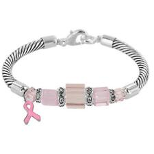 Breast Cancer Awareness Pink Ribbon Cable Bracelet - Breast Cancer Awareness