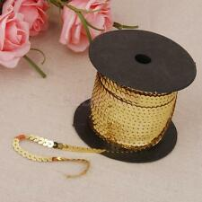 100Yards Sequin Embroidered Lace Ribbon Trim Sew On Dress Clothes Accs Gold