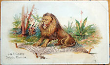 Victorian Trade Card: Lion Trapped in Net, Mouse - J&P Coats' Thread, Litho